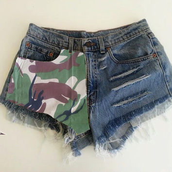 High waisted Denim shorts Army Style MADE TO ORDER