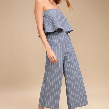 Eustatia Blue and White Striped Culottes