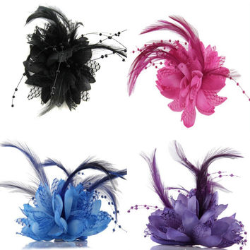 Flower Feather Bead Corsage Hair Clip