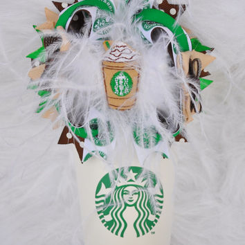 Starbucks Bow | Starbucks Clip | Coffee Hairbow | Over The Top Bows | Feather Bows | Starbucks Tan Bow | Baby Girl Hair Accessories