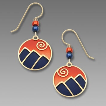 Adajio Earrings - Mountain Scene in Blue and Sunset Oranges