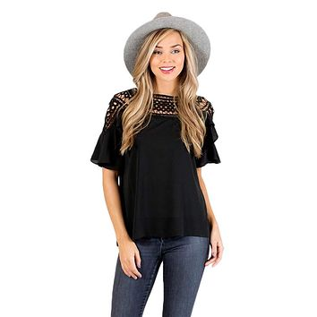 Black Crochet Trim Spring Blouse