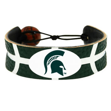 Aminco Michigan State Spartans Team Color NCAA Gamewear Leather Basketball Bracelet