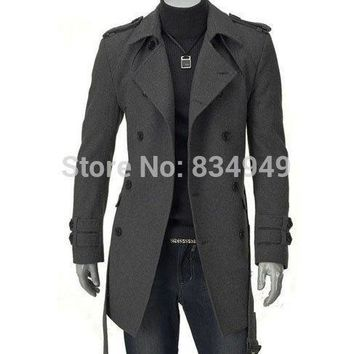 CUSTOM MADE TAILORED MENS TRENCH COAT,2014 FASHION SLIM FIT LONG COAT CASHMERE WOOL LONG JACKET, WINTER COATS FOR MEN