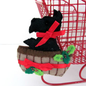 Vintage Felt Christmas Ornaments, Bucilla Scottie Dog Ornament, Felt Scottie Dog, Handmade Ornaments, Christmas Decor