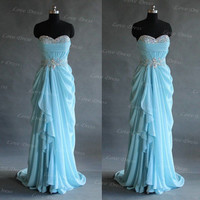 Sweetheart Ice blue prom dress, graduation dresses, evening dress, blue dress, formal dress,bridesmaid dress