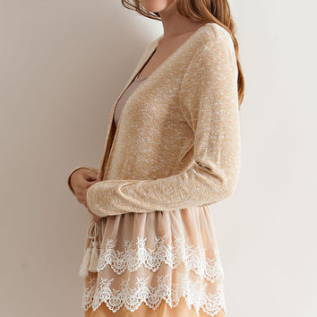 Forget Me Not Gold Ruffle Crochet Lace Cardigan