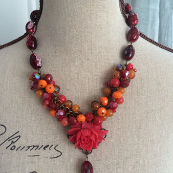 Autumn Beaded Cluster Necklace with Red Rose Cabochon - LOLA