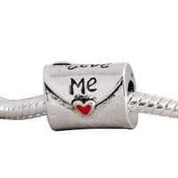 European Charm Bead Metal Love Letter Red Enamel