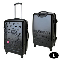 Hello Kitty Zip Around Travel Carry Bag Suitcase Heart Black Large Size TSA