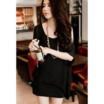 Black Chiffon Mini Dress With 3/4 Lace Sleeve