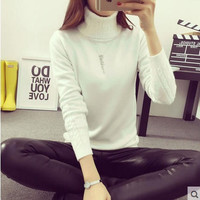 Fashion Women Long Sleeve turtleneck Cashmere sweaters And Pullovers female lover oversized pull Femme winter white sweater