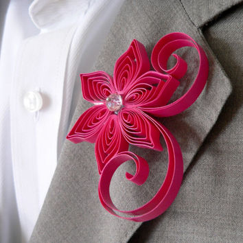 Watermelon Boutonniere, Deep Pink Buttonhole, Watermelon Wedding, Mens Wedding Boutonnieres