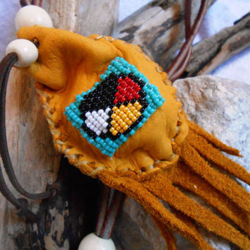 Handmade Medicine Pouch, Small Medicine Bag, Hand Beaded Medicine Wheel Design, Hand Sewn, Native American Inspired, Mountain Man, OOAK
