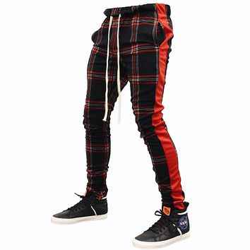 Plaid Track Pants (Red)