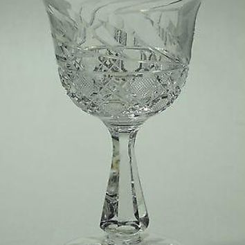 Cut glass wheel etched wine stemware bell shape glass Hand cut