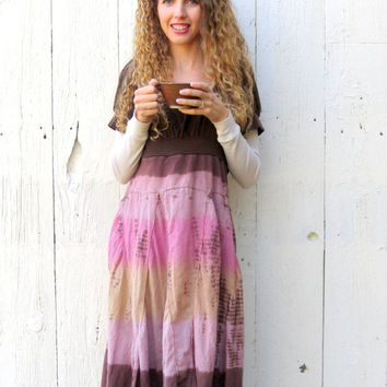 Babydoll Maxi Dress bohemian clothing womens size medium upcycled boho hippie recycled refashioned eco one of a kind clothing by wearlovenow