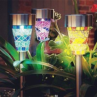 Sogrand Solar Garden Lights Outdoor Decorations Mosaic Home Decor Stakes Yard Decorative Stake Light Deal of The Day Prime Today Warm White LED Bright Waterproof Lantern For Outside Landscape Patio
