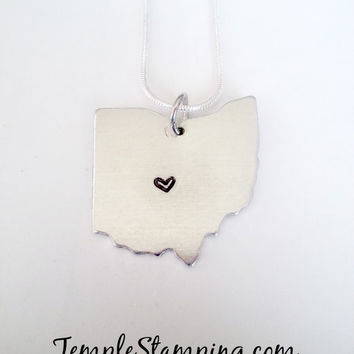 Hand Stamped Ohio OH State Necklace with Heart over Your City
