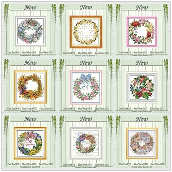 The wreath bird Lily garland flower painting counted printed on canvas DMC 14CT 11CT Cross Stitch Needlework Sets Embroidery kit