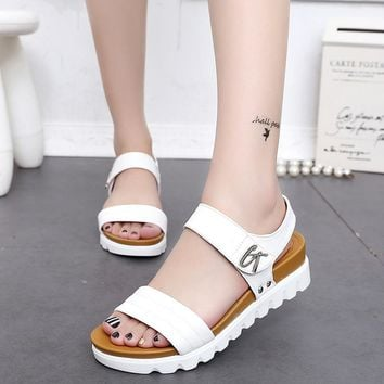 Leather flat sandals comfortable ladies shoes