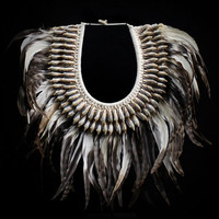 Feather Necklace - Gray Feathers Banded With White Decorated With Long Curled Shells Accent Natural Papua Tribal White Braided Collar