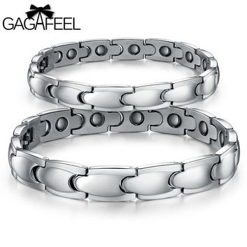 GAGAFEEL Magnetic Bracelet Men Women Titanium Steel Health Jewelry Lovers Bangle Accessory 10MM