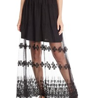 Glamorous Women's Sheer Embroidered Detail Maxi Skirt