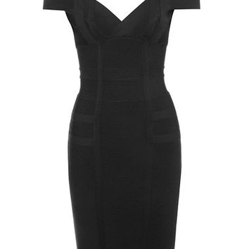 Clothing : Bandage Dresses : 'Mimi' Black Off Shoulder Bandage Dress
