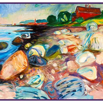 The Sea Shore Landscape by Symbolist Artist Edvard Munch Counted Cross Stitch or Counted Needlepoint Pattern