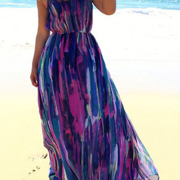 Multi Color Printed Open Back Maxi Dress