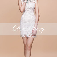 White Lace Dress - Little White Dress - Lace Sheath Dress w. Eyelash Finish