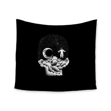 "BarmalisiRTB ""Space Skull"" Black White Illustration Wall Tapestry"
