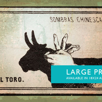 Mexican Shadow Puppet Show Print El Toro Decor Giclee Print on Cotton Canvas and Satin Photo Paper Poster Home Wall Art