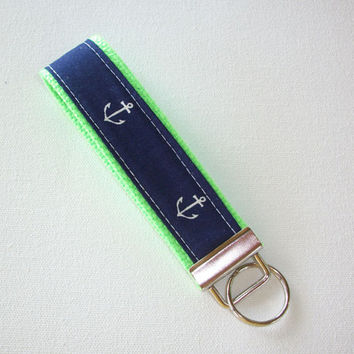 Key FOB / KeyChain / Wristlet  - Anchors on lime green  - navy white