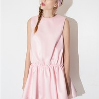 Pink satin drop waist dress