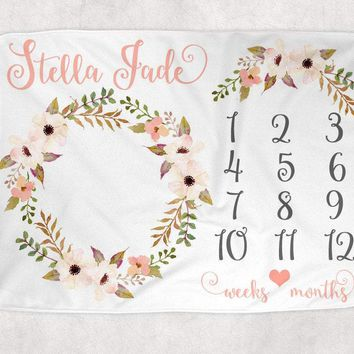 BOHO Baby Milestone Blanket, Watercolor Floral Feathers Blanket, Newborn Photo Backdrop, Month Growth Chart, Personalized Baby Shower Gift