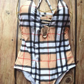 One Piece Burberry Inspired Swimsuit