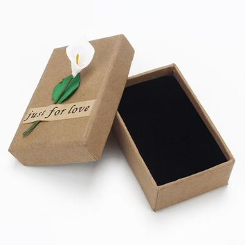 Retro Jewelry Box Gift Boxes Flower for Necklace Flower Bracelet Ring Kraft Paper Letter Jewellery Accessories Pack