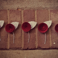5 Mini Sparkle Silver Paper Flower Boutonnieres - Wine Red or Any Color - Groomsmen Boutonnieres for Weddings