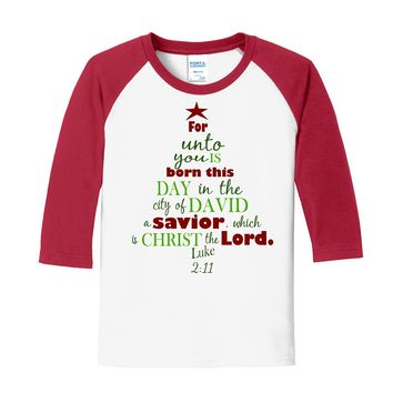 'Unto You..This Day' Bible Verse on White/Red Raglan Sleeve T-Shirt