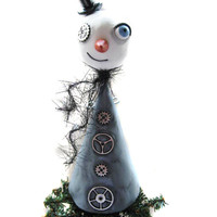 Steampunk Art Doll - Steampunk Snowman - Tree Topper - Steampunk Art - Made to Order