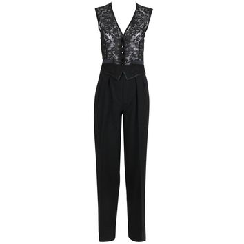Yves Saint Laurent Black Tuxedo Pants & Lace Vest w/Matching Satin Trim
