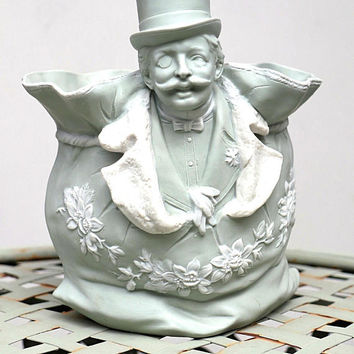 Glorious Antique Figural Bisque Cachepot by Schafer & Vater Rudolstadt  ~ top hat, mustache, and monacle! / gardening victorian curiosities
