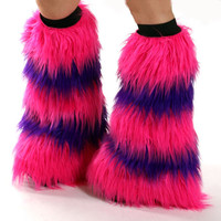 Cheshire Cat Fluffies UV Hot Pink and Purple Rave Furry Leg Warmers