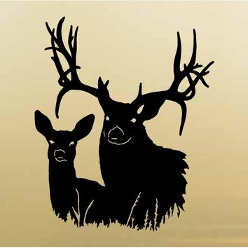 Doe and Buck Hunting Wall Decals Mural Home Decor Vinyl Cabin Decor Stickers