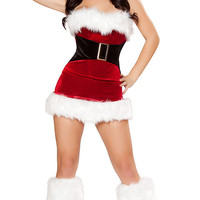 Christmas dress santa hat party dress sexy Woman Red Velvet Conjoined pleated Dress personality uniforms temptation clothes hats three-piece