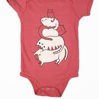 SALE: 18-24 Month Cat Onesuit - Baby Bodysuit (Pomegranate)