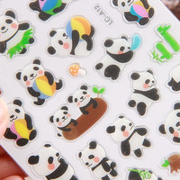 Kawaii Panda sticker cute animal bear pet seal label fat animal zoo park wildlife crystal sticker National treasure Mascot icon sticker