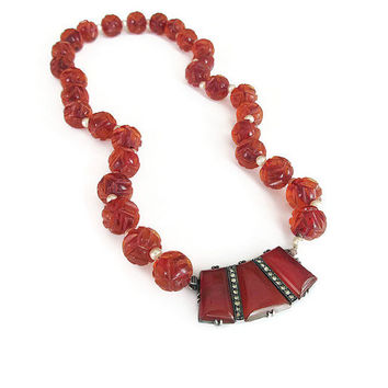 Sterling Germany Necklace, Carnelian Beads, Art Deco Necklace, Sterling Silver, Art Deco Jewelry, Vintage Necklace